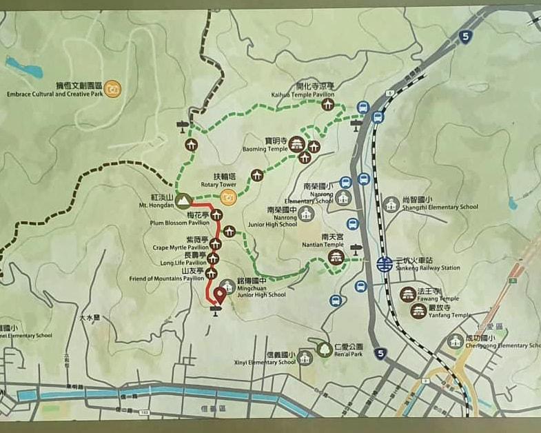 基隆步道紅淡山路徑