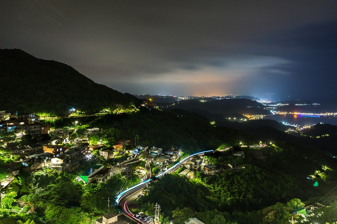 Night views from Ocean Side guesthouse in Jiufen
