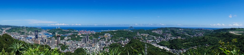 Panorama of Keelung from the top of Mountail Hongdan