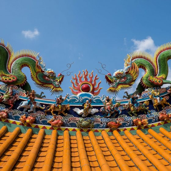 Rooftop of Tianxian Palace in Keelung, Taiwan