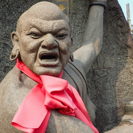 Stone Monk Statue in Tianxiang Palace in Keelung, Taiwan
