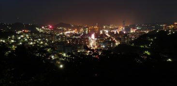 View of Keelung City Lights from Shiqiuling